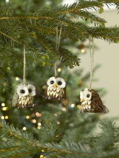 Owl Ornaments, Set of 3 for Your Christmas Tree or DIY projects!