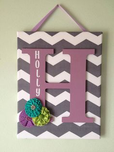 Girls Chevron Canvas Initial Decor by DopfelDesigns on Etsy, $22.00