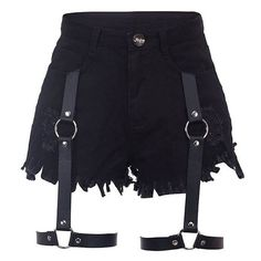 Leather garters add a dramatic touch to black high waist denim cutoff shorts.. DIY the look yourself: http://mjtrends.com/pins.php?name=leather-fabric-for-garters