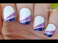 TAPE NAIL ART: Purple Gradient French Tips On Short Nails - YouTube