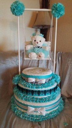 Diaper Cake. Tiffany's Baby and Co. Tiffany Blue. Breakfast at Tiffany's Baby Shower. Created by Cyd Haltom