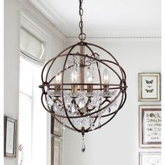 Edwards Antique Bronze 16-inch Crystal Chandelier - Free Shipping Today - Overstock.com - 16696171 - Mobile