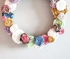 DIY rose wreath made with recycled/repurposed fabric/paper.