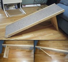 One of our fans – Jess Manderson – sent us a message requesting a simple idea on how to build a pet step/ramp for her dog Mini who's in his golden years. It took a while, but we found one :-)   on The Owner-Builder Network  http://theownerbuildernetwork.com.au/wp-content/blogs.dir/1/files/coops-hutches-and-other-pet-accommodation-1/dogramp.jpg