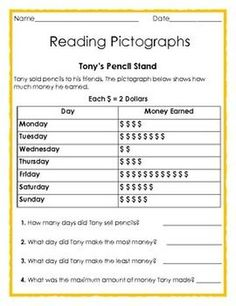FREE Reading Pictographs: Tony's Pencil Stand