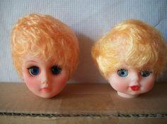 Cabeza de muñeca rubia de plástico vintage con por MooglasMarket