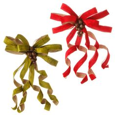 """The Jolly Christmas Shop - Raz 16.5"""" Clip-on Red or Green Velvet Bow Christmas Ornament with Bells 3506768, $14.99 (http://www.thejollychristmasshop.com/raz-16-5-clip-on-red-or-green-velvet-bow-christmas-ornament-with-bells-3506768/?page_context=category"""