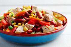 Ensalada de pavo y frijoles al estilo sudoeste   Gran respuesta al problema de los sobrantes de carne, ya sea de pavo, de cerdo o de pollo.