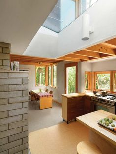 Kitchen and nook. Nature Preserve House, by John McLeod Architect.  Middlebury, Vermont. #kitchen #nook