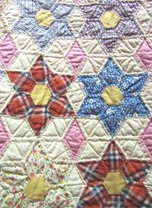 Vintage English Patchwork quilt - 6 point stars made of Hexies and diamonds