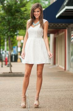Poise And Lace Dress, Cream - The Mint Julep Boutique