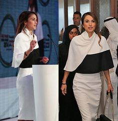Trending Fashion Style: Cape. Queen Rania in Chic Derek Lam Cape top skirt ensemble at the Abu Dhabi Media Summit 2014 ADMS.