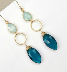 Aqua Dangle Earrings Teal Dangle Earrings Gold by DoolittleJewelry, $56.00
