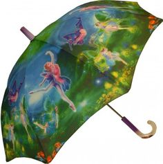 KIDS:  Galleria Kids Dulcinea Fairies Umbrella  This pretty kids umbrella features colourful fairies dancing around in a forest setting. Steel shaft and frame with durable fibreglass ribs. Curved plastic handle with name tag, and glittery liquid inside, and patented non-protruding T-shaped tips and pinch-proof runner for safety. Manual opening and closing.    CAD $20.00    http://www.raindropsto.com/umbrellas/kids-umbrellas/galleria-kids-dulcinea-fairies-umbrella