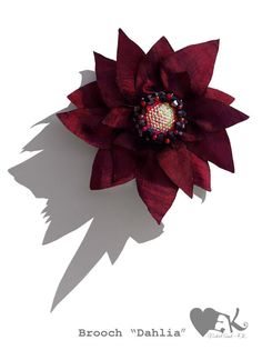 violet texture flower fuchsia red crystals beaded RebelSoulEK brooch