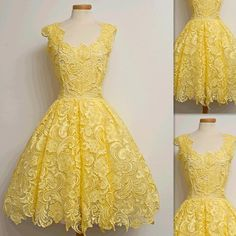 Yellow Cocktail Dresses Spring Collection 2016 Lace Actual Photos Homecoming Prom Party Gowns Custom Made Formal For Women Gowns Online Unique Dresses From Firstladybridals, $86.18| Dhgate.Com
