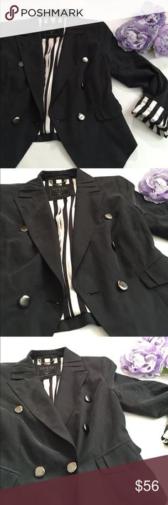 GUESS Blazer Guess blazer with black and white striped interior/ you can fold the cuff to show or wear it down and not show the interior design. Guess Jackets & Coats Blazers