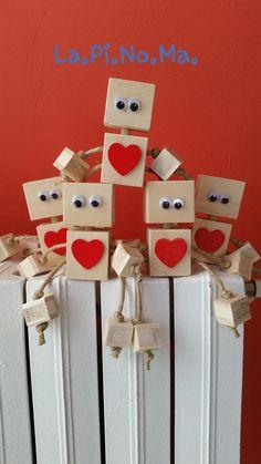 Robot in legno cuore , by Lapinoma idee in legno e non solo