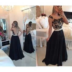 Cheap prom dresses Buy Quality prom dresses directly from China prom dress fashion Suppliers: White New Fashion Formal Long Evening Gowns Backless Capped Sleeves Pearls Belt Sheer Lace Black Chiffon Prom Dresses 2016 Prom Dresses 2016, Elegant Prom Dresses, Prom Dresses With Sleeves, Backless Prom Dresses, Black Prom Dresses, Plus Size Prom Dresses, Cheap Prom Dresses, Dress Black, Party Dresses