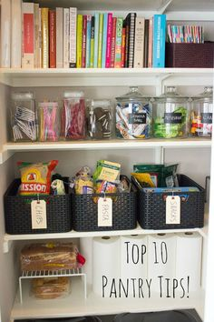 Top 10 Pantry Organization Tips from Design Improvised Organizing your pantry can be a lot less daunting thanks to these 10 simple steps! This post is full of doable pantry storage tips and tricks. Organisation Hacks, Kitchen Organization, Storage Organization, Organizing Tips, Organising, Small Pantry Organization, Diy Storage, Food Storage, Storage Ideas