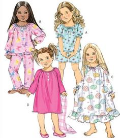 Little Girls Pajamas Pattern Little Girls Nightgown by Kwik Sew Patterns, Sewing Patterns For Kids, Pattern Sewing, Girls Sleepwear, Girls Pajamas, Toddler Outfits, Girl Outfits, Nightgown Pattern, Pajama Pattern
