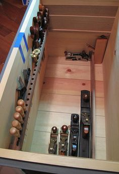 There's no one right way to arrange saw storage in a tool chest. Megan Fitzpatrick tries out several arrangements before settling on a favorite.
