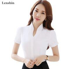 Click to Buy    V-Neck White Shirts Short Sleeve Blouse New 8c8e38ba1