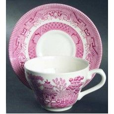 Churchill Pink Willow 12 Piece Tea/Coffee Set & Red Willow Tea Cup and Saucer Red / Pink Transferware Churchill ...