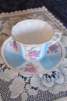 royal grafton teacup and saucer. Blue and White with floral decor