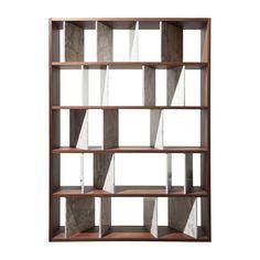 Moscova Bookcase, Walnut Wood and Gold Calacatta Marble, Andrea Morgante