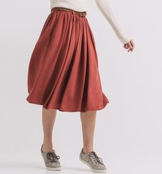 Under-the-knee+belted+skirt
