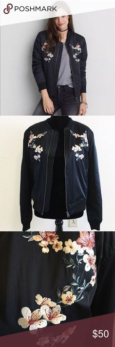 American Eagle embroided Bomber Jacket NWOT. Really cute!! Bought in Cherry Creek in Denver.  Never worn.  Need go. Size M but I'm in size S. fit me well. Can be a little bit oversize. American Eagle Outfitters Jackets & Coats