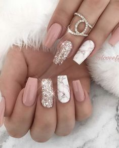 42 fashionable pink and white nails designs ideas that you .- 42 fashionable pink and white nails designs ideas you want to try - Summer Acrylic Nails, Acrylic Nails Coffin Short, Best Acrylic Nails, Summer Nails, Spring Nails, Summer Nail Polish, Acrylic Gel, Autumn Nails, Marble Nail Designs