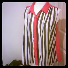 Striped, sleeveless blouse Sheer, loose fitting striped blouse. Brand is called Nameless. I only wore it a few times since I have quite a few just like it. Looks really cute with a black bralette underneath and over skinny jeans and black boots nameless Tops Blouses