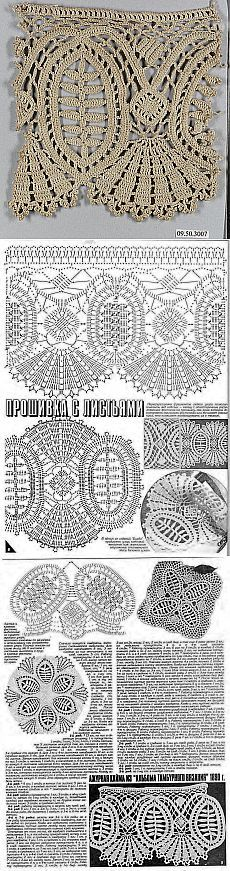 I just love the look of this pattern,I don't think I'll ever find something I could use it in but it's gorgeous Filet Crochet, Crochet Lace Edging, Form Crochet, Crochet Borders, Crochet Diagram, Crochet Chart, Thread Crochet, Irish Crochet, Crochet Doilies