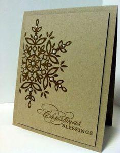Pretty, simple handmade Christmas card with snowflake and saying.