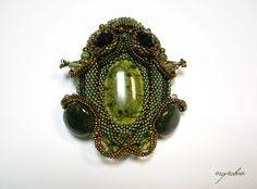 """Купить Брошь """"Лягушка"""" - болотный, зеленый, лягушка, жаба, брошь ручной работы, авторская работа"""