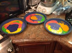 Tie dye cake ready for oven