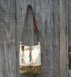 Leather HoBo Bag Purse  Flowers  Turquoise  by Studio4240 on Etsy, $60.00