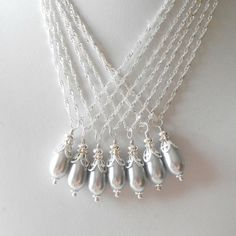 Bridesmaid Necklace Pearl Necklace Gray Pearl by FiveLittleGems, $12.00 The way the chain stack in this picture gives me an idea.