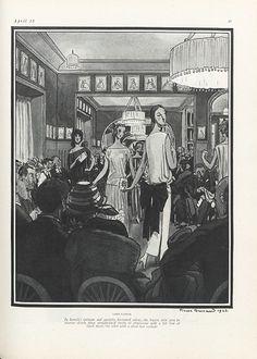 Illustration by Pierre Brissaud, Vogue, April 15, 1923 Pictured: Lanvin  (drop waist, drape back, bow)