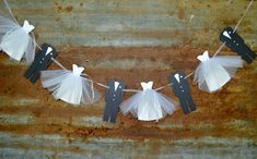 dresses for engagement party Our unique bridal shower decoration is created from cutouts crafted from quality textured cardstock, that have been strung on ribbon. Four bride Brunch Wedding, Our Wedding, Budget Wedding, Wedding Order, Wedding Groom, Wedding Shower Decorations, Bridal Shower Banners, Wedding Shower Dresses, Bridal Shower Wreaths