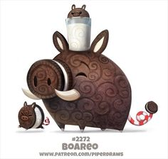 Daily Paint Boareo by Cryptid-Creations on DeviantArt Cute Food Drawings, Cute Animal Drawings, Kawaii Drawings, Cartoon Drawings, Cute Fantasy Creatures, Cute Creatures, Animal Puns, Animal Food, Kawaii Art