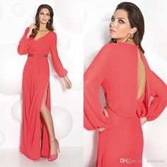 Joan Rivers On Modest Watermelon Chiffon Floor Long Mother Of The Bride Groom Dress 2016 Long Sleeves Keyhole Back Side Slit Women Formal Evening Gown Joan Rivers Rivers From Whiteone, $122.41| Dhgate.Com