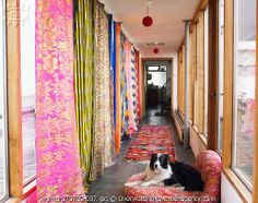 gorgeous mix of fabric panels - bright color contact paper on the front of bookcases in hallway