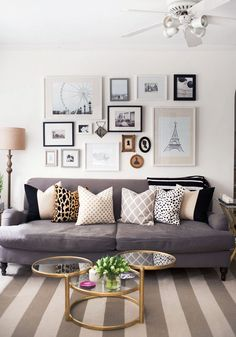 Gorgeous Gallery Walls - Damsel in Dior / beautiful lounge interior with gallery wall art