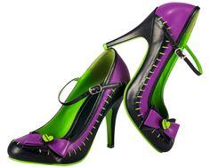 T.U.K. Shoes Black and Purple Zombie Stitched Sky-Hi Heel