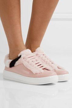 a8ebacff35 Prada Shearling-Trimmed Leather Sneakers