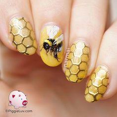 Honeybee chrome nail art