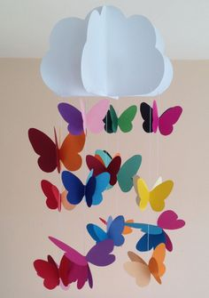 Baby crib mobile, nursery mobile, decorative hanging for parties, nursery decoration with cloud and butterflies sewn with colored paper, – Manualidades – Primavera Kids Crafts, Preschool Crafts, Diy And Crafts, Paper Crafts, Decoration Creche, Class Decoration, Crib Decoration, Butterfly Decorations, Butterfly Crafts